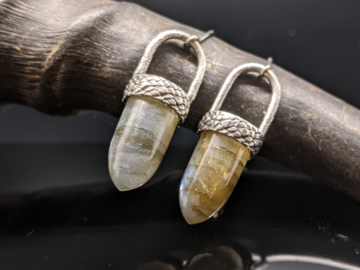 Selling: Labradorite and Textured Sterling Silver Bullet Earrings