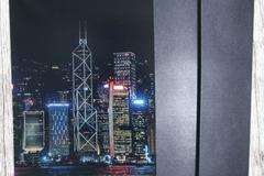 : Sights of Hong Kong Greeting Card 5 (Skyline At Night)