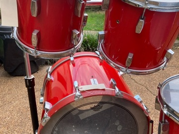 Selling with online payment: Reduced! Tempus 4 pc. red fiberglass drum set