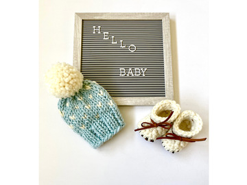 Selling: Mini Hearts Beanie and Bootie Gift Set
