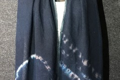 """Selling with online payment: Hand Dyed Tussah Silk Scarf in Dark Blue 8"""" x 54"""""""