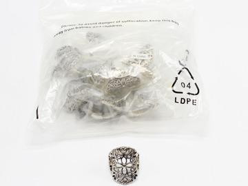 Liquidation/Wholesale Lot: Dozen Filigree Silver Fashion Stretch Rings