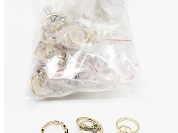 Liquidation/Wholesale Lot: Dozen New Rhinestone Cross Ring Sets