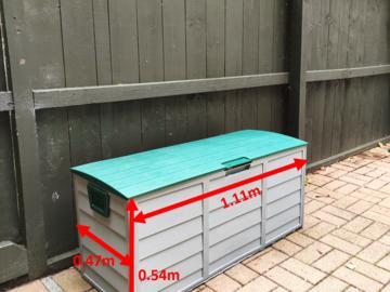 Storage/ Parking Space: 1.1m x 0.47m   Outdoor Lockable Storage Box   Three Kings