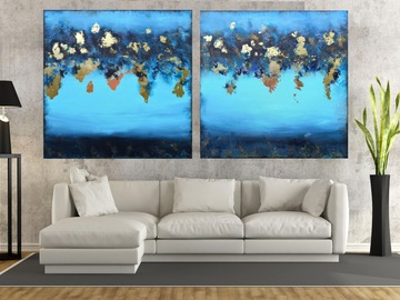 Sell Artworks: XXXL Abstract Starlit Ocean 160 x 80cm Textured Abstract Diptych