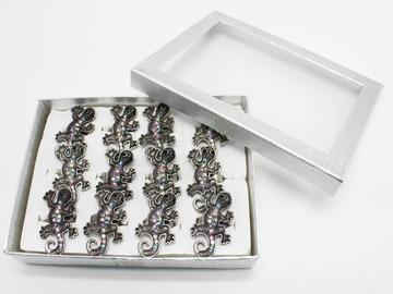 Liquidation/Wholesale Lot: Dozen Rhinestone Lizard Adjustable Rings in Display Box #R2022