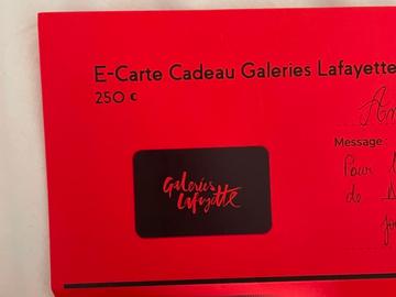 Vente: e-Carte cadeau Galeries Lafayette (250€)