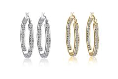 Liquidation/Wholesale Lot: 24 pr Inside Outside Hoop Earrings made with Swarovski elements
