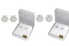 Liquidation/Wholesale Lot: 20 Pair Cubic Zirconia Earrings in Beautiful Gift Box -2 Carats