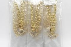 Liquidation/Wholesale Lot: Dozen Gold Bling Rhinestone Heart Pendant Necklaces