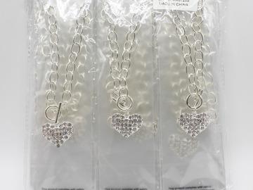 Liquidation/Wholesale Lot: Dozen Silver Bling Rhinestone Heart Pendant Necklaces