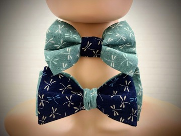 : Handmade bow tie set for father and son - Dragonfly