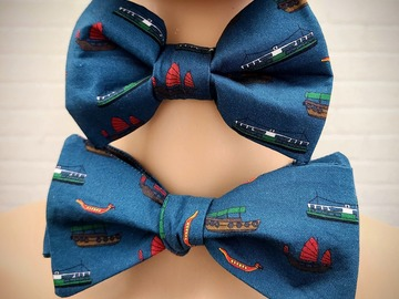 : Handmade bow tie set for father and son - Hong Kong boats