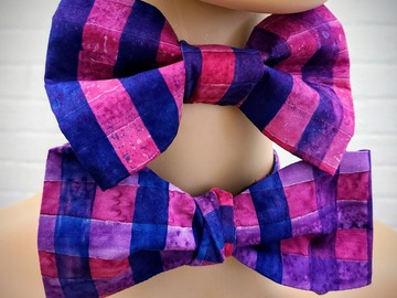 : Handmade bow tie set for father and son - Purple Batik