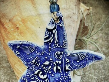 Selling with online payment: Blue and White Ceramic Starfish Ornament