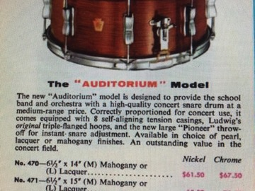 """Wanted/Looking For/Trade: WANTED: Ludwig 6.5x15 """"Auditorium Model"""" Snare"""