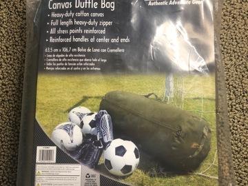 "Selling A Singular Item: Zippered canvas duffle bag 25""X42"""