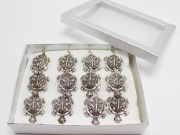 Liquidation/Wholesale Lot: Dozen Rhinestone Turtle Adjustable Rings in Display Box R2021