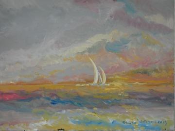 Sell Artworks: Voiles blanches sur coucher de soleil