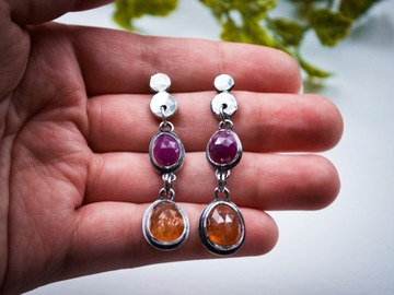 Selling: Lesbian Pride Studs // Sunstone and Pink Sheen Sapphire