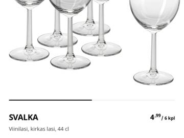 Ilmoitus: Svalka viinilaseja 160-165kpl