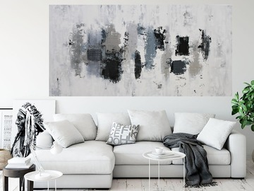 Sell Artworks: XXXL Silver Strand Falls 160 x 80cm Textured Abstract Painting