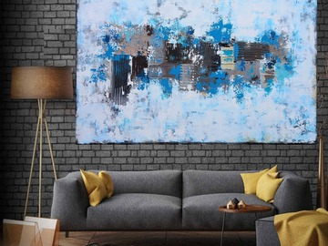 Sell Artworks: XXXL Abstract By the Quayside 120 X 80cm Textured Abstract Painti