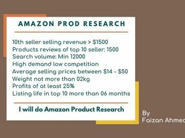 Pay per project: Do amazon product research for PL and wholesale