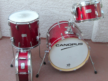 Selling with online payment: Canopus Bop Red Sparkle 4 Piece  Drum Set 18 12 14, 14 Snare