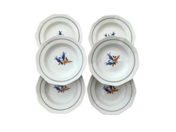 Vente: 6 Assiettes creuses porcelaine de Saint Amand