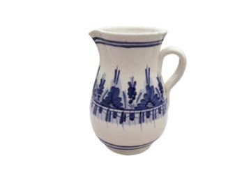 Vente: Pichet vintage en céramique blanc et bleu