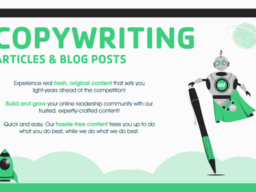 Pay per project: Write authentic, fresh content for you!