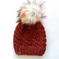 Selling: Rust Orange Chunky Knit Beanie with Large Pom