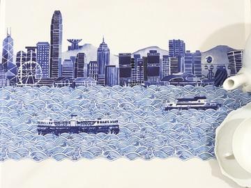 : Tea towel : HK Blue Skyline