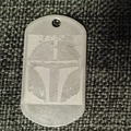 Selling with online payment: Clan of Two Etched Stainless Steel Dog Tags - Mudhorn and Helmet
