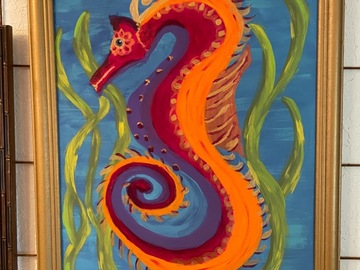 """Selling with online payment: """"Seahorse"""" acrylic painting"""
