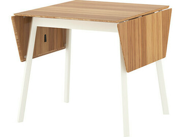 Selling without online payment: Drop-leaf table, bamboo/white and 2 white dining chairs