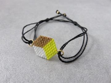 Vente au détail: Bracelet tissé en perles miyuki  jaune PATTY