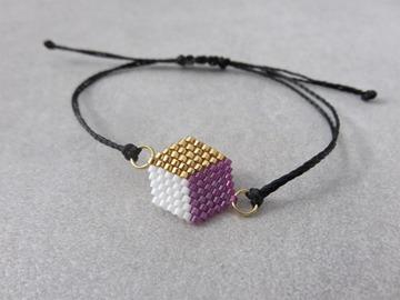 Vente au détail: Bracelet tissé en perles miyuki violet PATTY