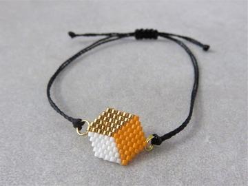 Vente au détail: Bracelet tissé en perles miyuki  orange PATTY