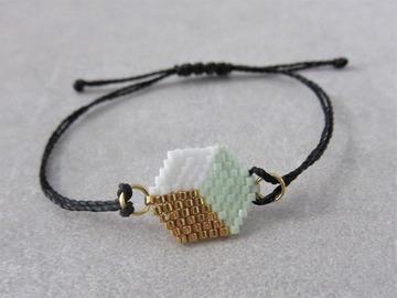 Vente au détail: Bracelet tissé en perles miyuki vert clair PATTY