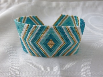 Vente au détail: Bracelet tissé en perles miyuki bleu MIRANDA