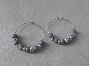 Vente au détail: Créoles en acier et perles NATASHA