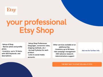 Pay per project: Create your Estsy Shop