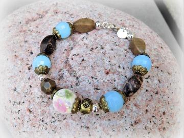 Vente au détail: Bracelet Rhodonite (pierre fine) - bronze, plaqué argent 925