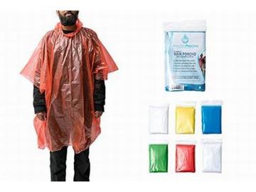 Liquidation/Wholesale Lot: Emergency Disposable Plastic Rain Ponchos With Drawstring Hood