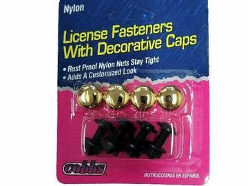 清算批发地: License Plate Fasteners With Decorative Gold Caps