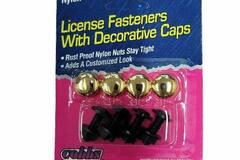 Liquidation / Lot de gros: License Plate Fasteners With Decorative Gold Caps