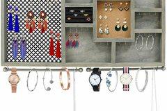 Liquidation/Wholesale Lot: Rustic Wooden Large Wall Mount Jewelry Organizer – 28″ X 16″