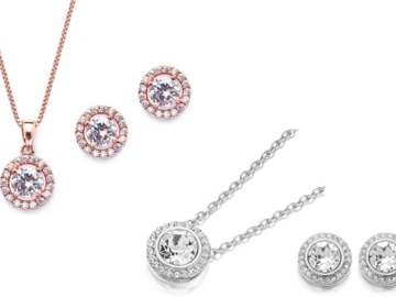 Liquidation / Lot de gros: 12 pieces Halo Necklace & Earring Set Made with Swarovski Element